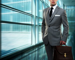 Businessman inside modern building